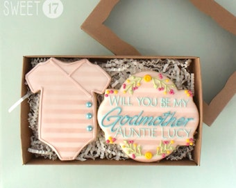 Custom Will you be my Godmother? Sugar Cookies Box Set