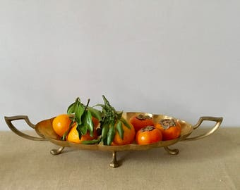 Vintage Dirilyte Classical Footed Brass Oblong Bowl, Tray  with Detailed Handles and Feet