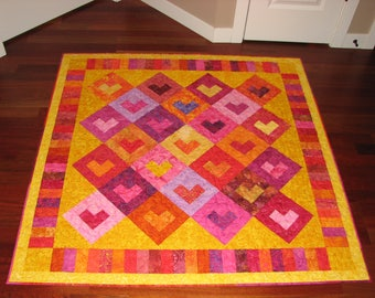 Hearts on Hearts Quilt in Vibrantly Colored Bali Batiks