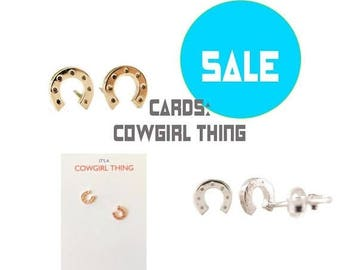 75% off Sale tiny HORSESHOE studs, second hole, Gold, Rose Gold, Silver, Cowgirl, Horse lover gift, Humane Society donation