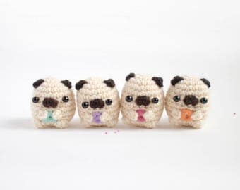 alphabet pug amigurumi - customizable crochet pug plush