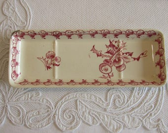 Vintage French transfer ware soap, trinket dish. French country..