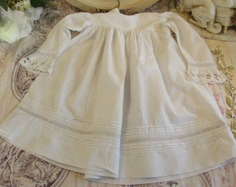 Antique French hand made an embroidered little girls dress