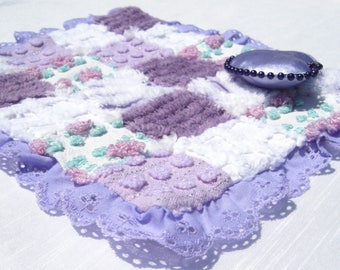 """Small Doll Quilt Small Doll Blanket Lavender Doll Quilt  Chenille Patchwork Quilt for 6"""" Doll or Less Vintage Chenille Patchwork Quilt Lovey"""