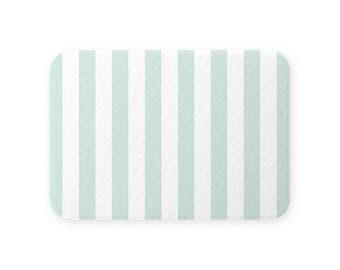Super Plush SHOWER BATH MAT Soft Quick Dry Memory Foam Nonslip Back Big Modern Mint Green White Beach Stripes . Small Large . Machine Wash
