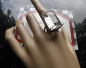 Spectacular Sterling Silver and White Topaz Emerald Cut Ring.  Old Hollywood Glamour.