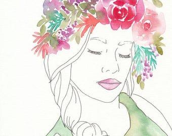 Watercolor Flower Girl, original watercolor painting, 8x10, flower girl, figure illustration, watercolor illustration, watercolor and ink