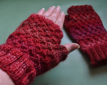 NEW DESIGN red variegated Mirage basketweave cable hand knitted pair of wristwarmers fingerless gloves gauntlets
