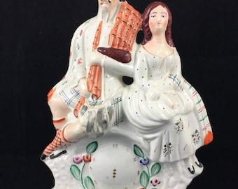 Antique Staffordshire Wedding / Newlyweds Wedding Couple Statute Victorian pottery fireplace mantel vase ceramic English marriage clock