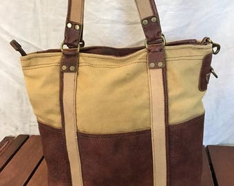 15%OFF VACATION SALE Vintage Genuine Lucky Brand Brown Leather and Beige Fabric Tote Bag