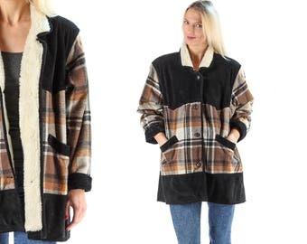 Winter Blanket Coat 1980s Faux Shearling Collar Suede Plaid Wool Coat Winter Jacket Lumberjack Quilted Jacket Oversize Winter Coat . Large