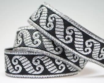 "Viking Scroll - Black/Metallic Silver 1/2"" Jacquard"