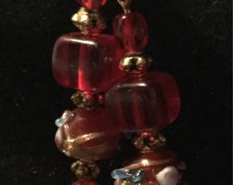 Red fancy glass bead earrings