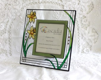 Stained glass photo frame.Welsh glass photo frame. Welsh daffodil. Cascadia Welsh stained glass frame