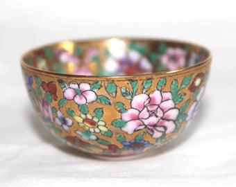 Hand painted miniature Chinese bowl. Miniature floral Chinese bowl. Chinese bowl