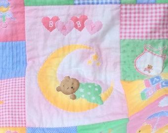 Sweet Baby Girl Quilt, Flannel Top Baby Quilt, Newborn Baby Girl Quilt, Toddler Girl Blanket, Handmade Quilt, Nursery Room Decor, Teddybear