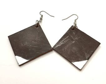 Thick Leather Earrings with Silver painted design