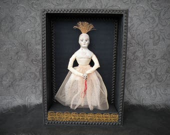 Antique doll with skull. BALLERINA Curiosity Box, Shadow Box, Assemblage