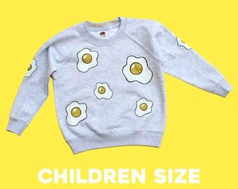 Child Grey Glitter Fried Egg Unisex Sweatshirt Jumper