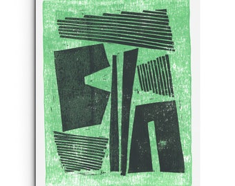 New - Minimalist Layered Block Print - Modern Giclee Print - Dark Charcoal Gray and Mint Green