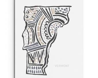 Vermont - Wall Decor - Giclee Print - Art Print - Wall Art - State Map Illustration - Digitally Printed