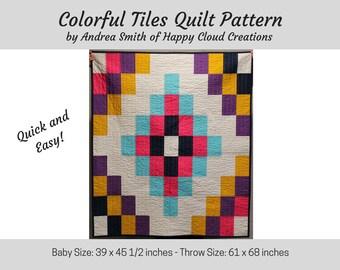 Colorful Tiles PDF Quilt Pattern, Baby Quit, Throw Quilt, Easy Quilt Pattern, Beginner Quilt Pattern, DIY, Toddler Quilt, Novice, digital