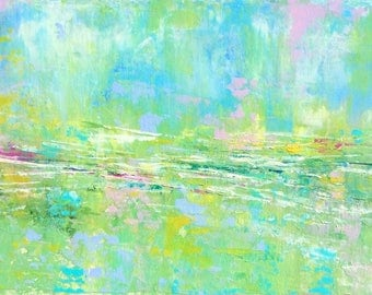 Abstract Landscape - 'Calling Out' - acrylic painting on canvas - size 20cm x 50cm