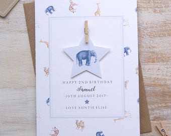 Personalised safari 2nd birthday card