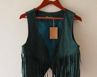 Mid Year SALE Vintage Leather Cardigan Green fringe Boho style (US4-6)