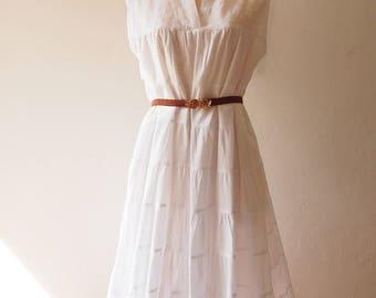 White long dress Loose Dress layered dress Minimal Dress Cotton Chinese High Neck Dress Beach Boho Dress Free Size