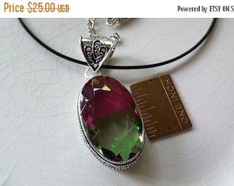 Etsy On Sale Watermelon Tourmaline Gemstone Necklace, .925 Sterling Silver, Pendant is 2.25x1in, on 17in Black Mesh Cord With 2in Extension