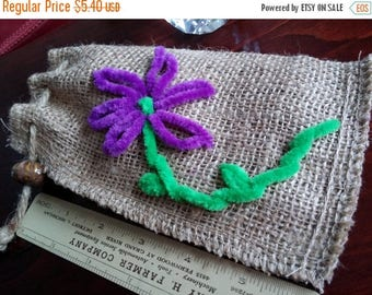 On Sale at Etsy Flower Embroidered Burlap Bag, 4x7 inches, Burlap Rope Closure, 14x22mm Golden Brown Ceramic Bead, Hand Embroyered Fuzzy Pur