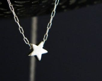 SALE Tiny Silver Star Charm Necklace