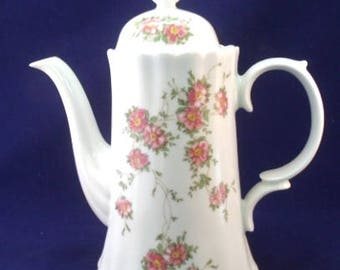 Wunsiedel Bavaria Tall Coffee Pot and Lid, White With Pink Wild Roses