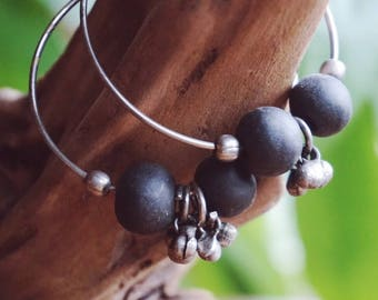 Hoop Earrings with Silver and Black Beads