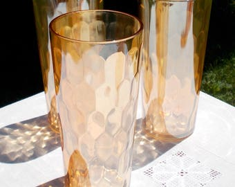 THREE Marigold Jeannette Glass Co Ice Tea Tall Tumblers HONEYCOMB Pattern Hexagon