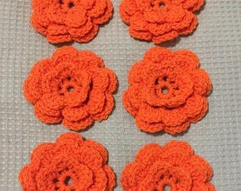 6 pcs Handmade Crochet Flowers Applique