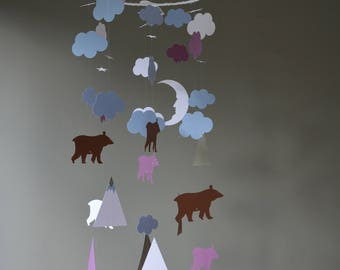 Custom order for Tiffany - Bear and mountain nursery mobile or baby mobile made in white, purple, denim, brown and grey card stock