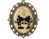 Mickey Mouse Minnie Mouse Disney Lover Silhouette Fairytale Vintage Cameo Large or Small Handmade Bronze or Silver Necklace Jewellery