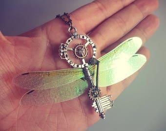 Flying Key, Harry Potter inspired, Mechanical Key, Antique Silver Magic Key, Flying Charm, Winged Skeleton Key, Handmade Pendant Necklace