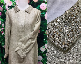 Glamorous 60s Silver Lurex Rhinestone Saks Fifth Ave Coat Dress