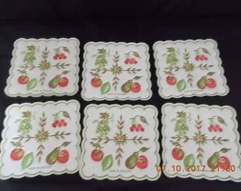 """6 Vintage Paper Coasters 3"""" x 3"""" Square Fruits Motif - England - Art Journal, Collage Paper, Mix Media Art, Assemblage, Scrapbook Supply"""