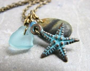 Beach Stone Necklace, Star Fish Pendant, Ocean Rock Pendant Seaglass Jewelry Aqua Blue Necklace Copper Patina Starfish Jewlery, Brass Chain