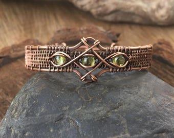 On Sale Peridot Bracelet - Wire Wrapped Bracelet - Gemstone Bracelet - Copper  Bracelet - Wire Wrapped Jewelry - Sweet Water Silver