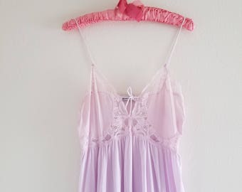 Vintage 1970's Lily of France Lavender Nightgown