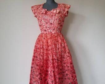 Vintage 1950's Red Floral Party Dress XS/S