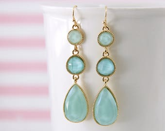 Mint Color Stone Drop Earrings, Bridal  Earrings, Bridesmaid Earrings, Mint Green Earrings, Tear Drop Earrings