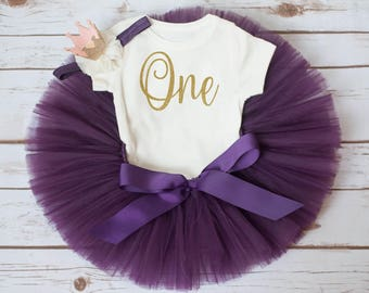 Plum first birthday outfit 'Lori' plum and gold first birthday, purple and gold birthday outfit, plum tutu set purple tutu set fall birthday