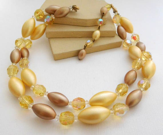 Vintage Cream Yellow Mocha Brown Glass Crystal Bead Layered Choker Necklace WW20