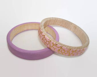Stacking Bangles - Pair of Two  Decoupage Wooden Bangles - Decoupage Jewellery - Flat Wooden Bracelets